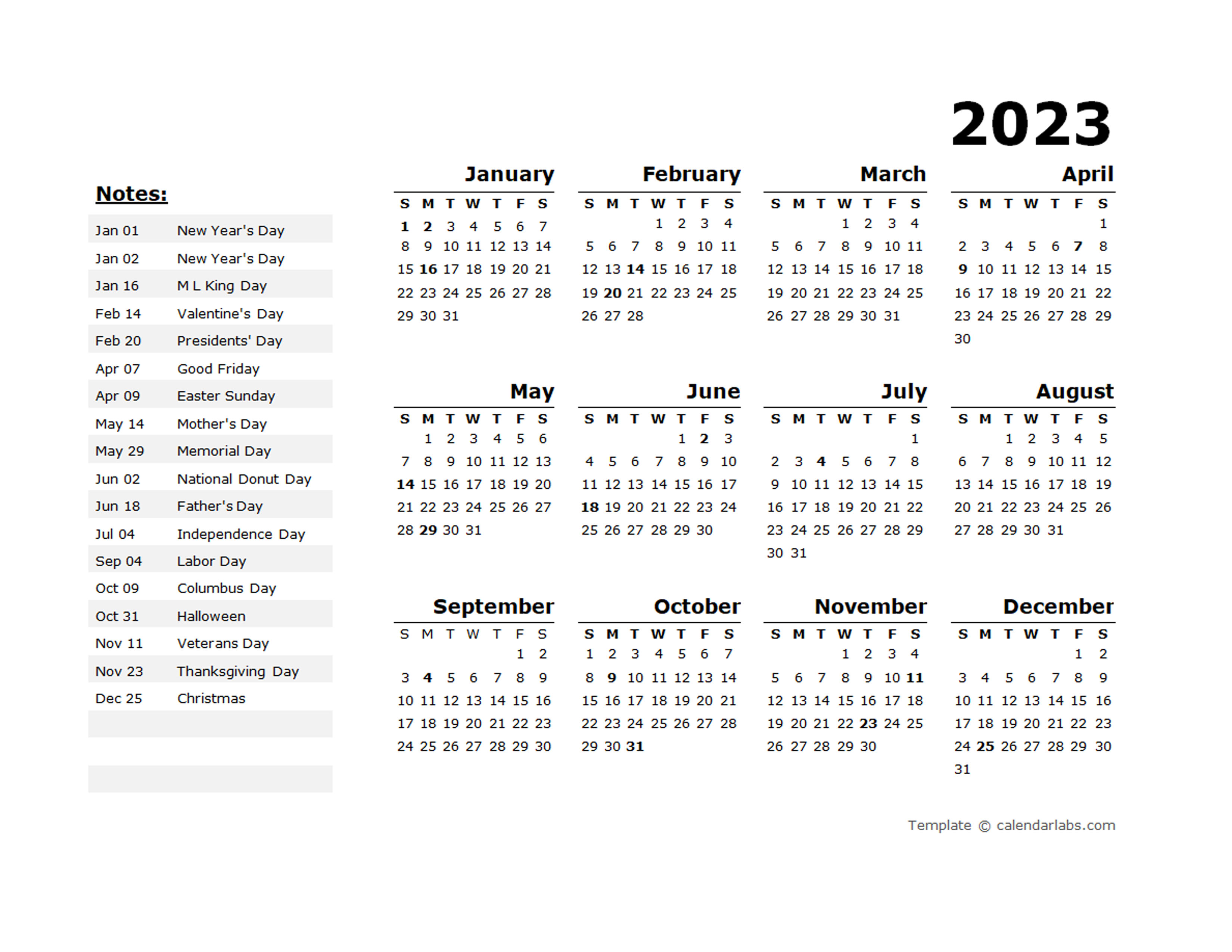 2023 Year Calendar Template with US Holidays - Free ...