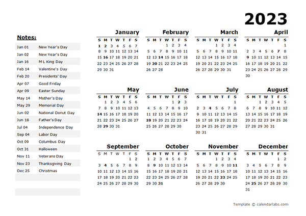2023 Year Calendar Template with US Holidays