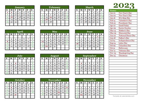 editable 2023 yearly calendar landscape