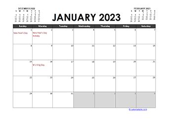 Monthly 2023 Excel Calendar Planner