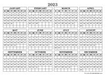 2023 Blank Yearly Calendar Landscape