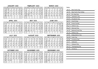 2023 Yearly Calendar PDF