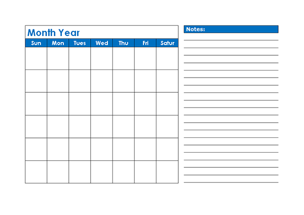 Monthly Blank Calendar in Blue Shade