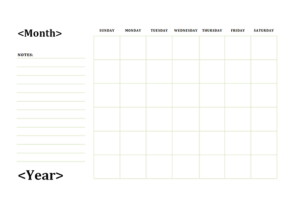 Monthly Blank Calendar With Day Notes Landscape Free Printable