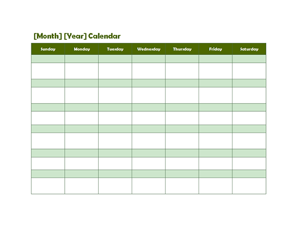 Calendar Green : Monthly blank calendar in green shade free printable