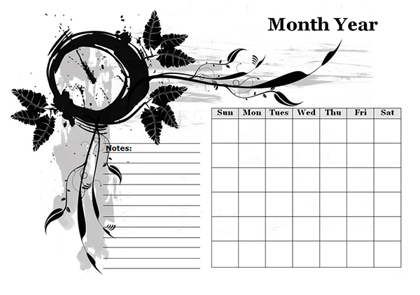 Monthly Blank Calendar in Designer Monochrome