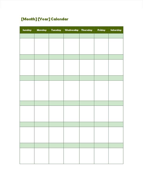 Monthly Blank Calendar in Potrait Mode