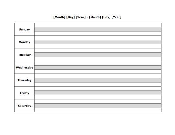 Weekly Blank Calendar Landscape 04