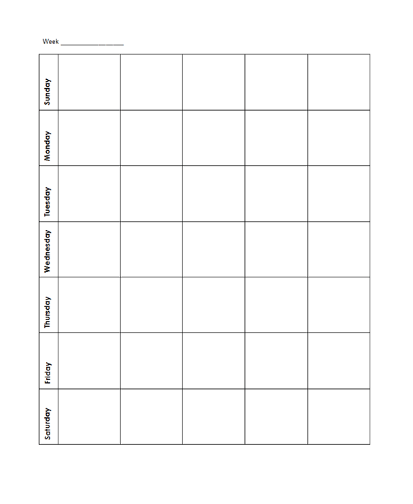 Weekly Blank Calendar Potrait Classic - Free Printable Templates