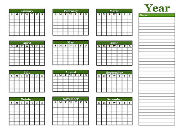 Yearly Blank Calendar with Holidays - Free Printable Templates