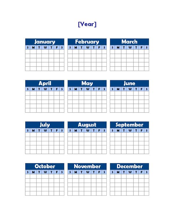 Календарь На Год Бланк
