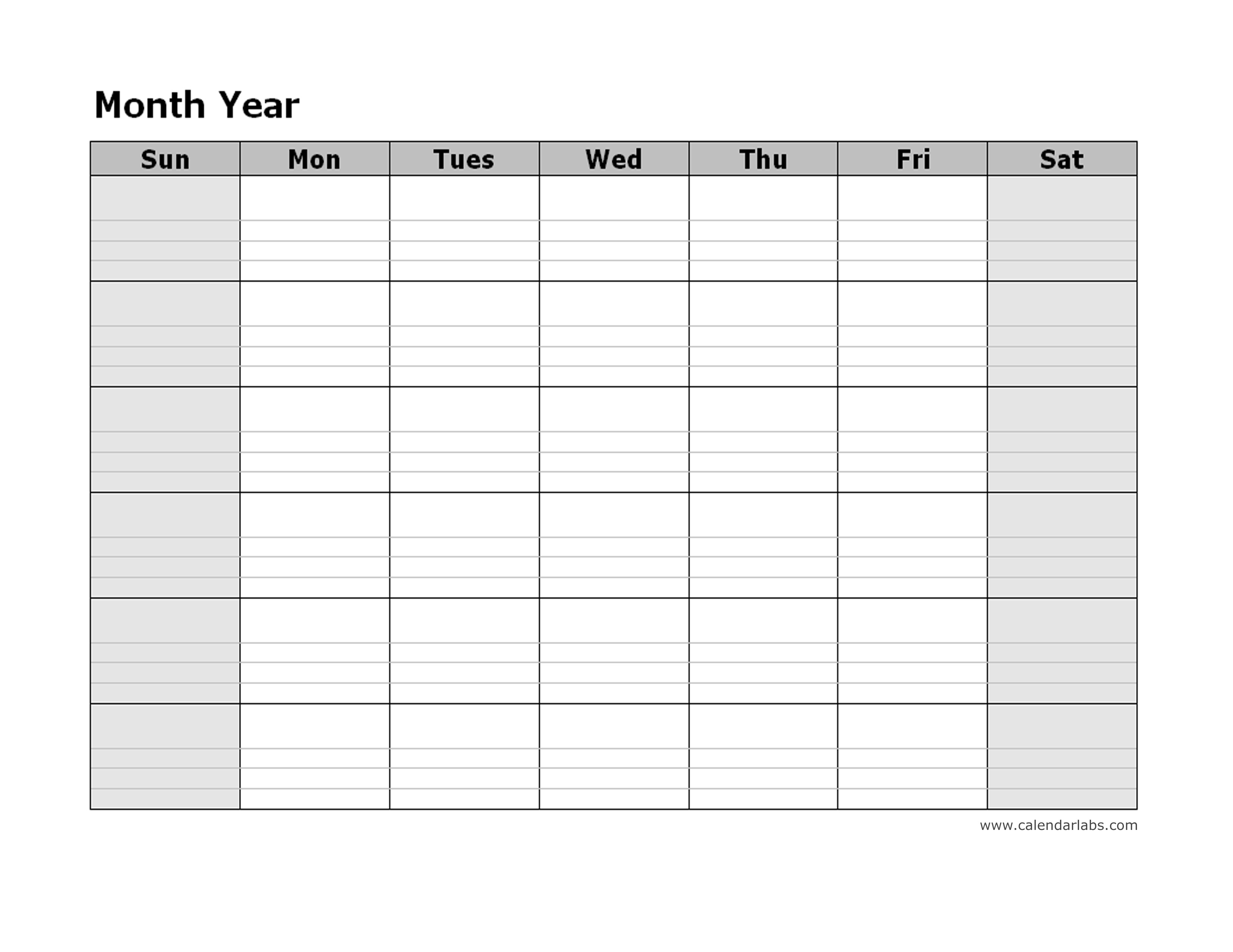 Monthly Blank Calendar - Free Printable Templates