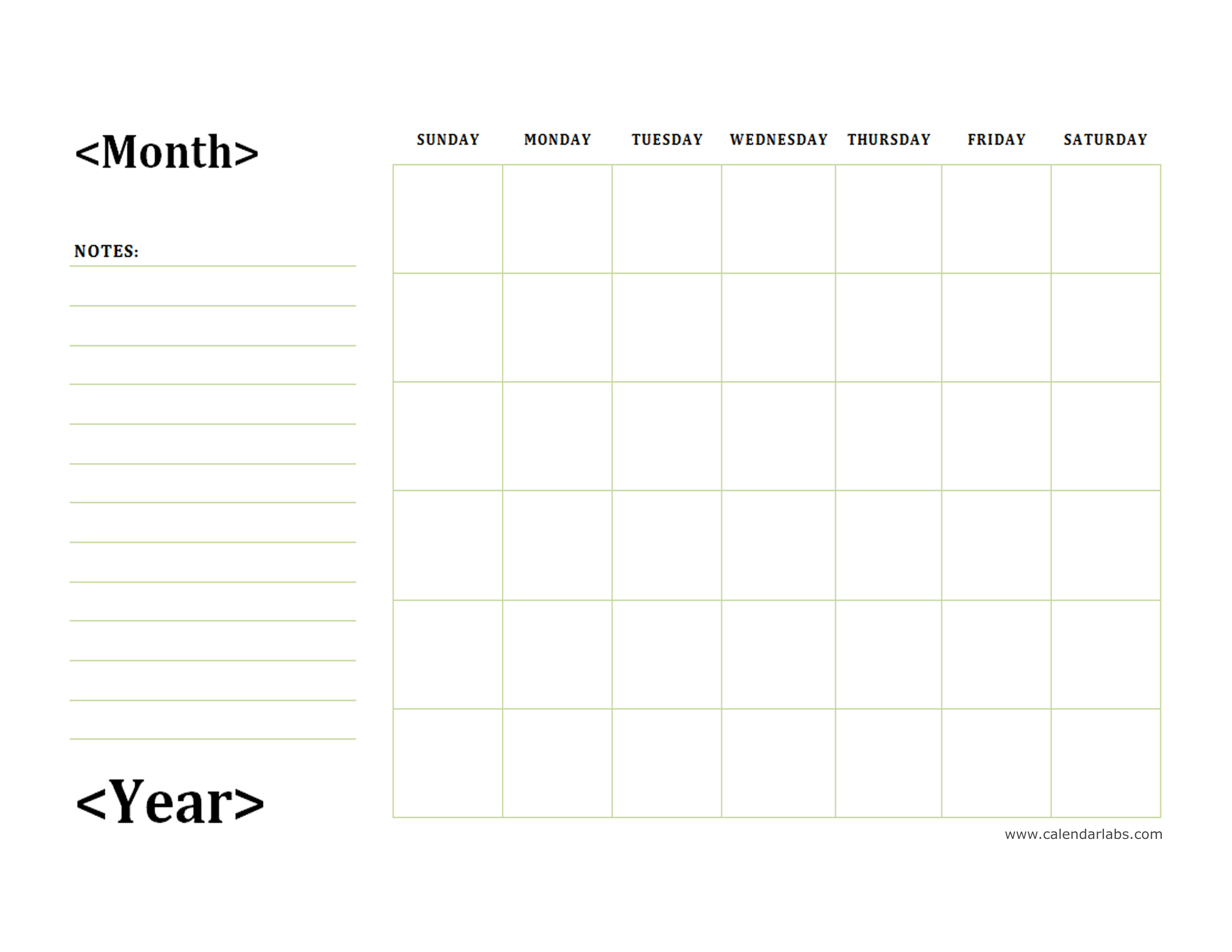 monthly blank calendar with day notes landscape