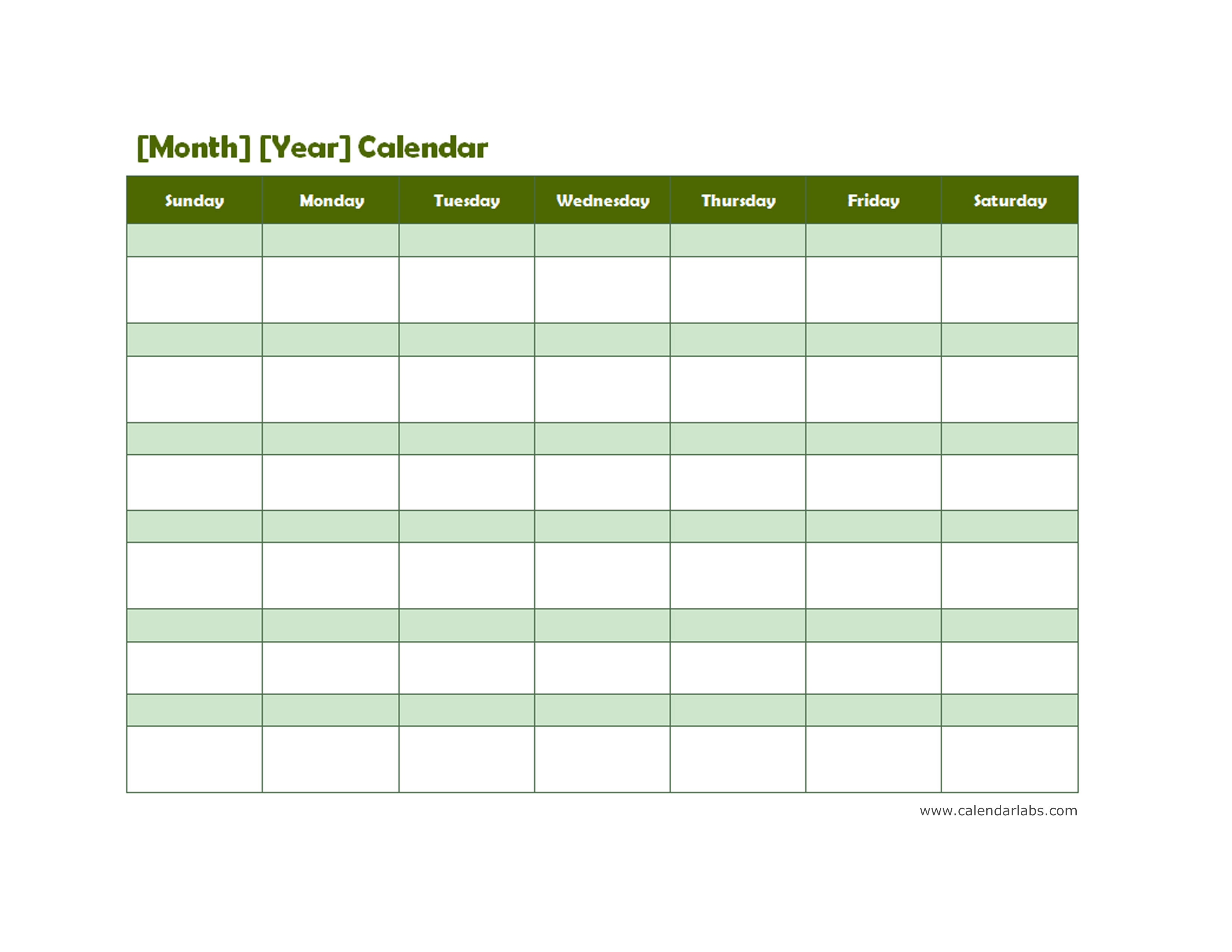 Weekly Calendar Landscape View : Monthly blank calendar in green shade free printable