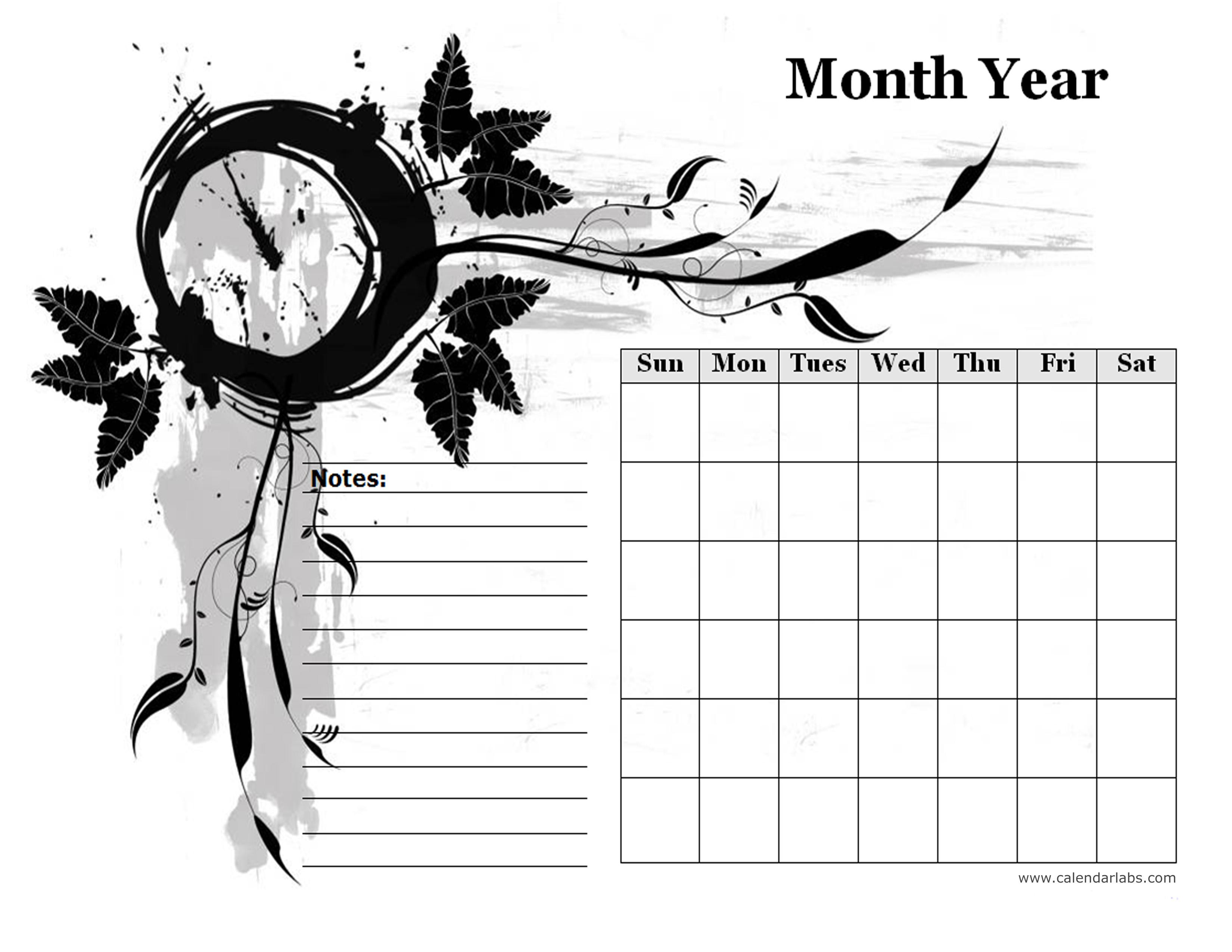 monthly blank calendar in designer monochrome