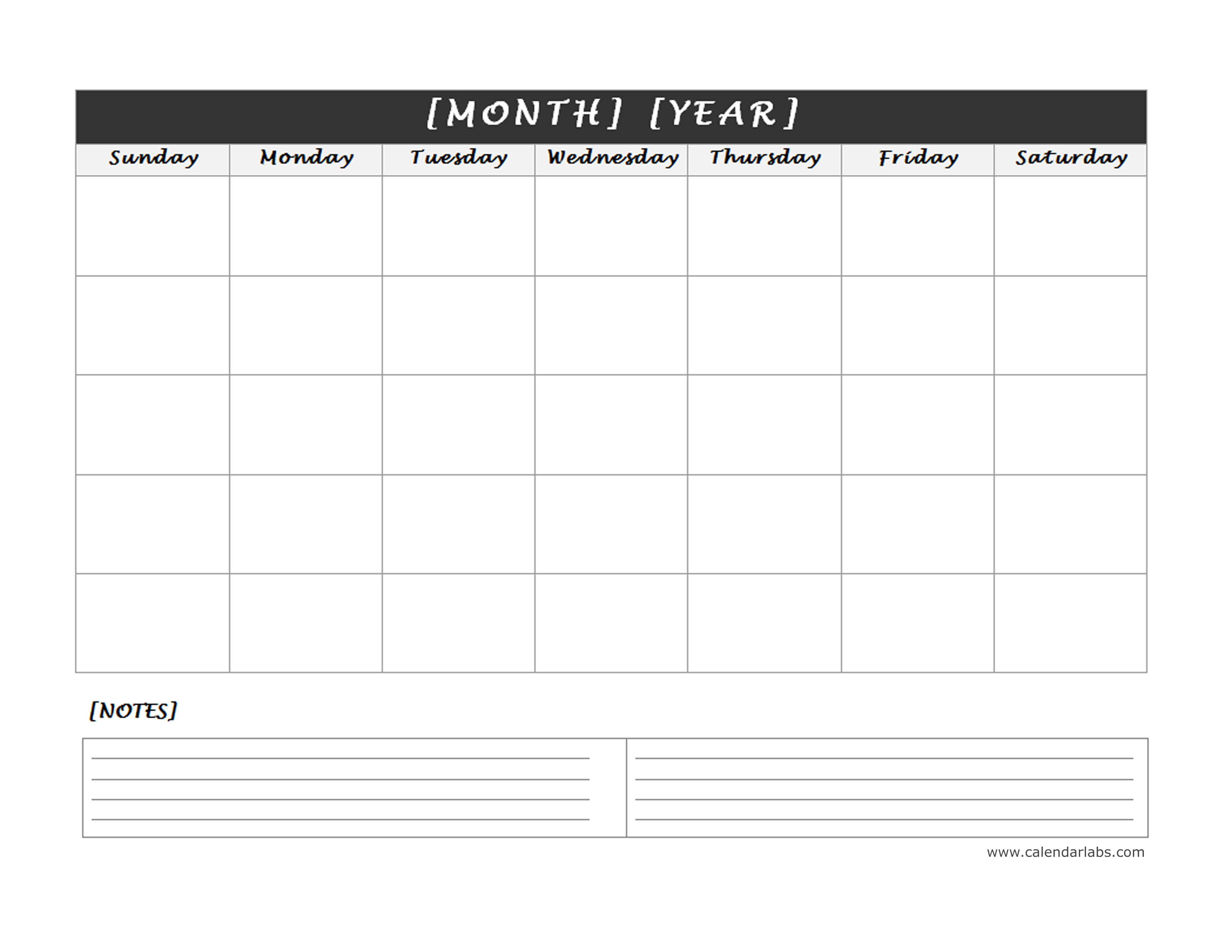monthly blank calendar with notes spaces