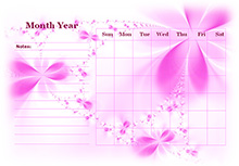 Monthly Blank Calendar in Purple Shade