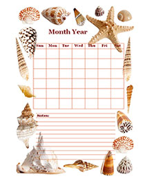 Monthly Blank Calendar in Designer Sea Shell