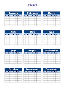 Yearly Blank Calendar Potrait