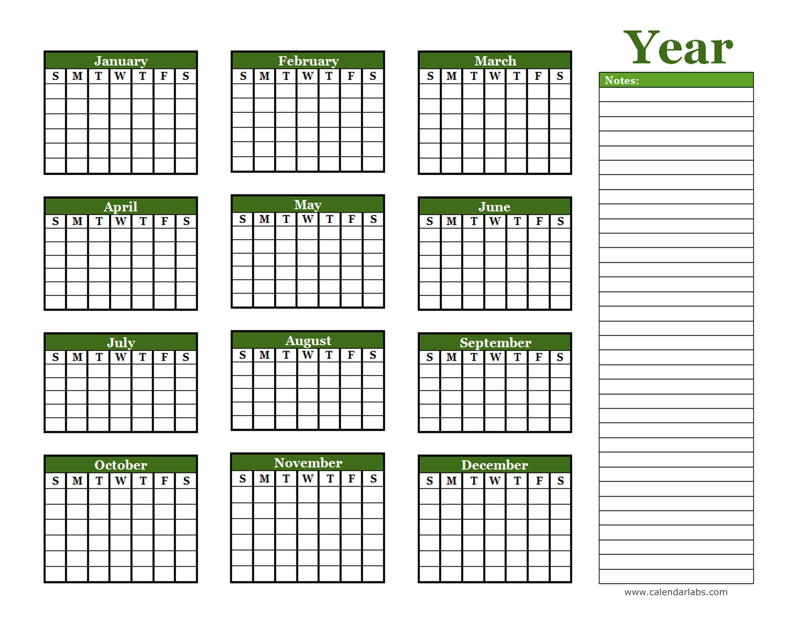 Calendar Year Planner Template : Yearly blank calendar with holidays free printable templates