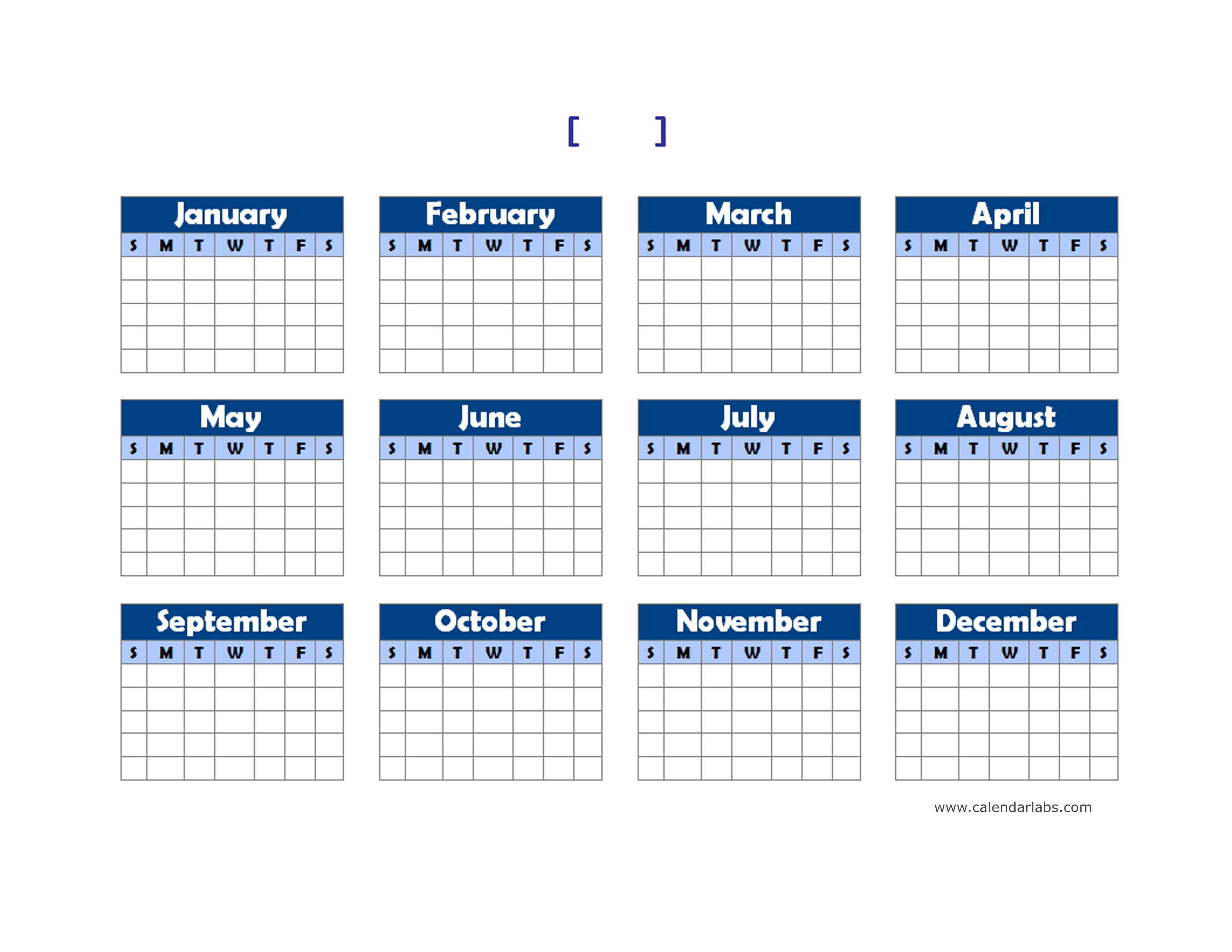 Weekly Calendar Labs : Yearly blank calendar landscape free printable templates