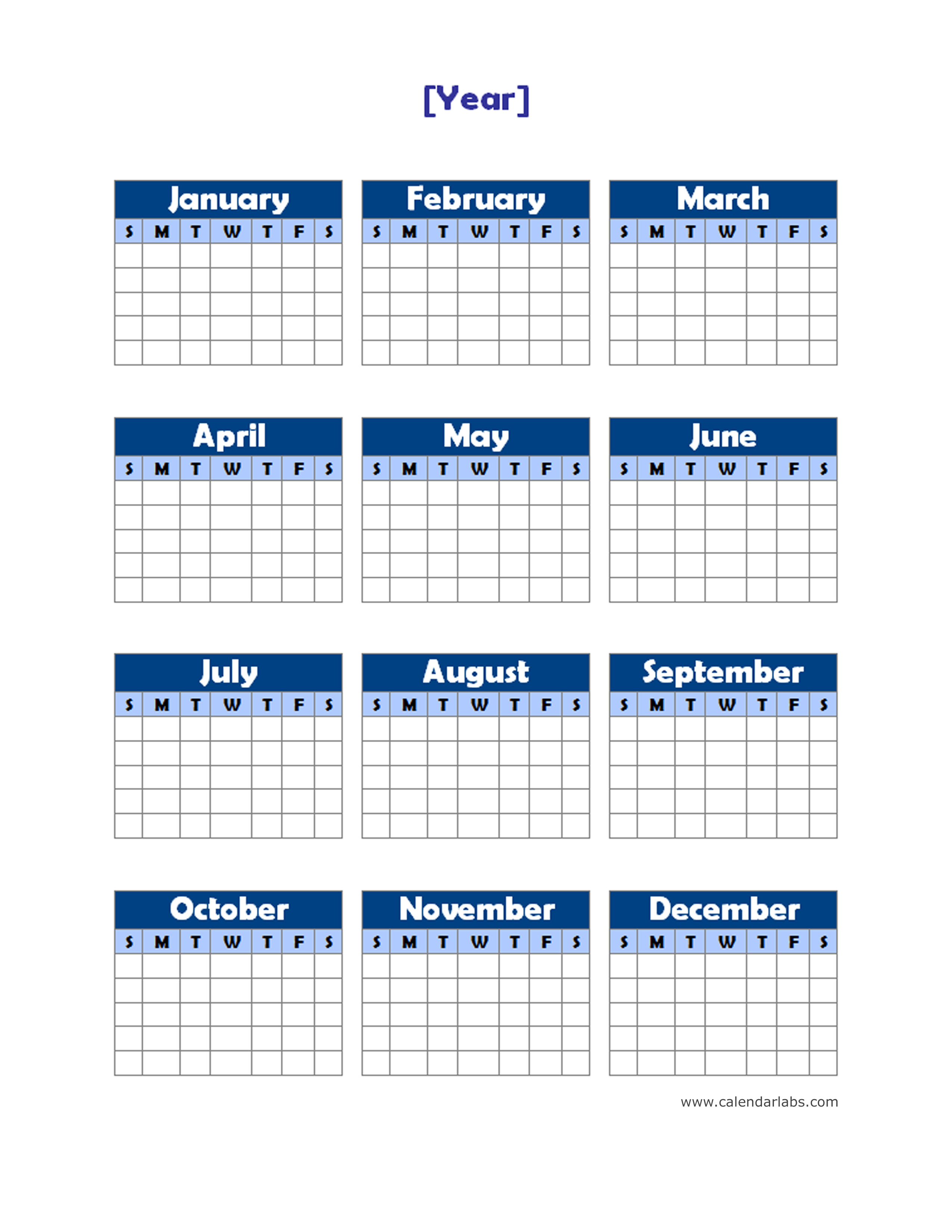 Generic Year Calendar : Yearly blank calendar potrait free printable templates