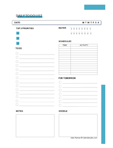 Printable Daily To Do List Planner